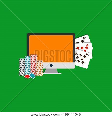 Internet poker illustration. Monitor, cards and poker chips. Online gambling icon. EPS10
