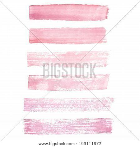 Hand painted pink grunge brush strokes isolated on the white background. Textures for your design.