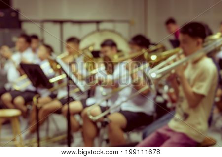 Abstract blurred photo of classic music band when rehearsal musical concept seminar meeting concept