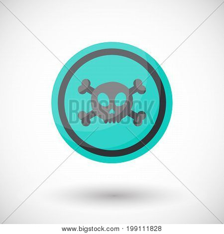 Aware sign vector flat icon Flat design of danger alert round symbol with skull and crossbones isolated on the white background cute vector illustration with reflection