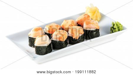 Sushi Baked Roll Plate Isolated On White