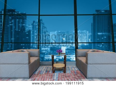 Lobby area of a hotel which can see abstract Blurred photo of cityscape at twilight time backgroundBusiness financial concept, retouch each element