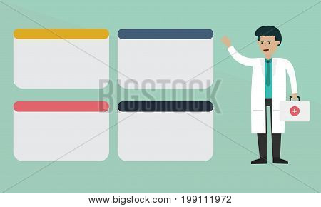 Doctor or science info graphic information, illustration graphic flat concept.
