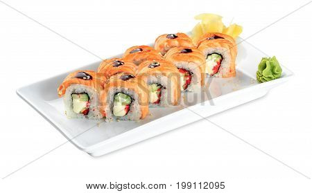 Sushi Sake Uramaki Grill Roll  Plate - Isolated On White