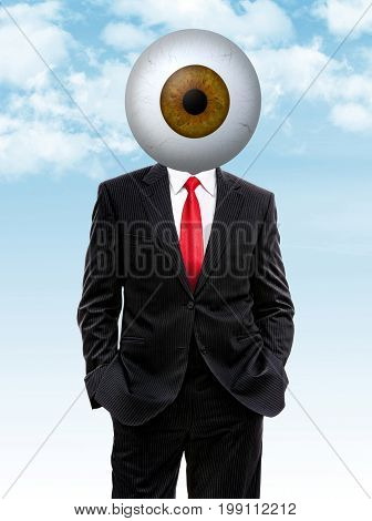 Business Man With Brown Eye Ball Instead Of Head