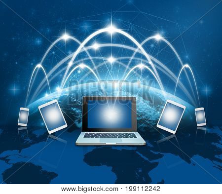 Laptops tablet and smart mobile phone against globe blue over earth and world map with network line backgroundElements of this image furnished by NASABusiness network, 3D rendering  Globalization concepts