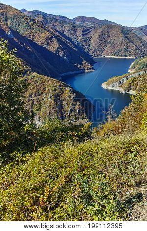 Autumn landscape of Meander of Vacha (Antonivanovtsy) Reservoir, Rhodopes Mountain, Bulgaria