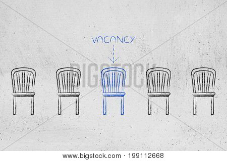 Group Of Chairs, One In Different Color Representing A Vacancy In The Company