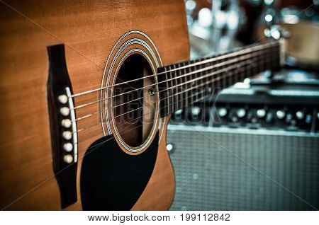 Closeup Guitar on music band background musical concept