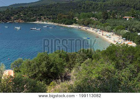 CHALKIDIKI, CENTRAL MACEDONIA, GREECE - AUGUST 25, 2014: Seascape of Agia Kiriaki Beach at Sithonia peninsula, Chalkidiki, Central Macedonia, Greece