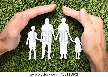 Directly above shot of businessman's hands covering paper family on grass
