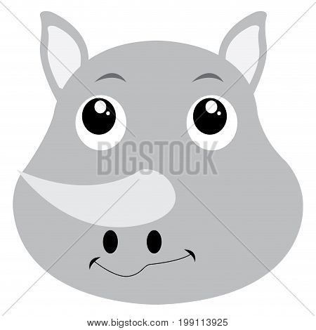 Isolated avatar of rhino on a white background, vector illustration