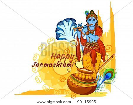 vector illustration of Krishna with flute on Happy Janmashtami background