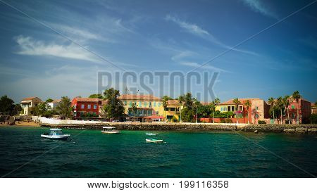 View to historic city at the Goree island in Dakar Senegal