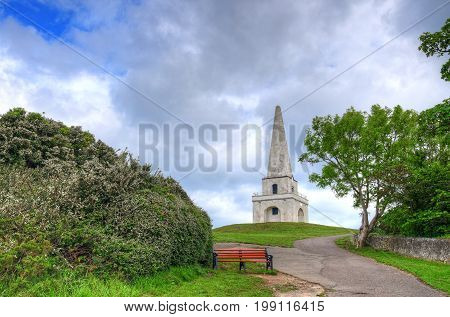 The view of the Killiney Hill Obelisk in Dublin Ireland.