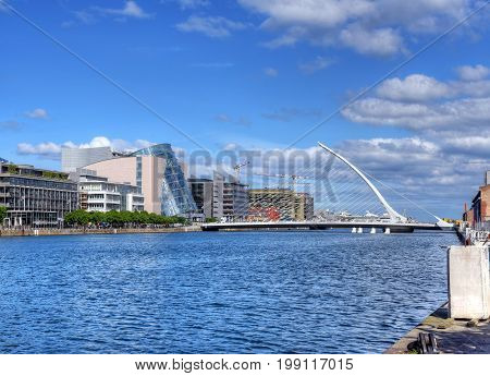 DUBLIN IRELAND - MAY 30 2017: The Samuel Beckett Bridge over the river Liffey.