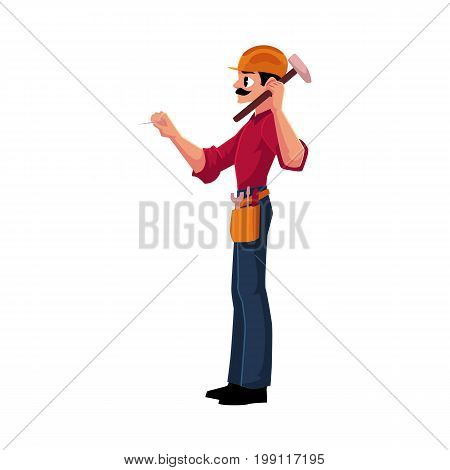 Construction worker, builder in hardhat driving nail with hammer, cartoon vector illustration isolated on white background. Full length, side view portrait of builder, construction worker with hammer
