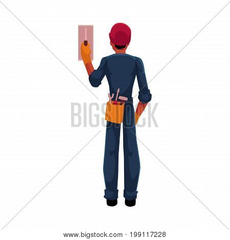 Construction worker, electrician, technician in hardhat and jumpsuit switching contact breaker, cartoon vector illustration isolated on white background. Full length, rear view portrait of electrician