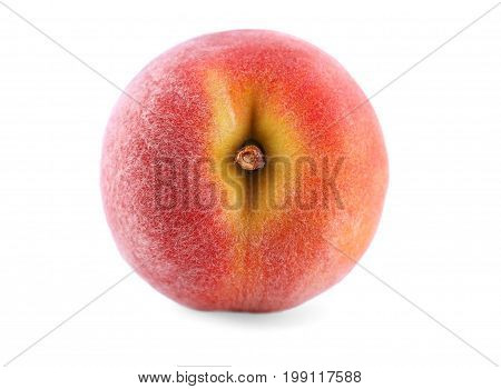 A view from above on a single whole orange peach, isolated over the white background. A close-up picture of natural juicy fruit. A colourful and fresh ripe nectarine for healthy summer snack.