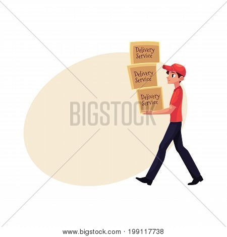 Young courier, delivery service worker carrying pile of boxes, packages, cartoon vector illustration with space for text. Full length portrait of delivery service man with pile of boxes