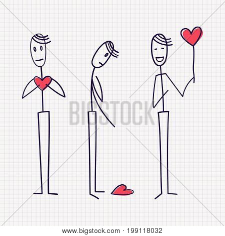 Stick figure of man in love with with red heart with different poses of enamored, abandoned and searching. Hand drawn vector illustration