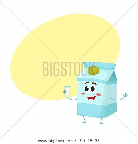 Funny milk box character with a shy smile, cartoon style vector illustration with space for text. Cute milk cardboard character with eyes, legs, and a wide smile