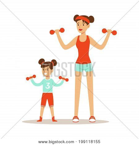 Smiling woman and girl exercising with dumbells, mom and daughter having good time together colorful characters vector Illustration on a white background