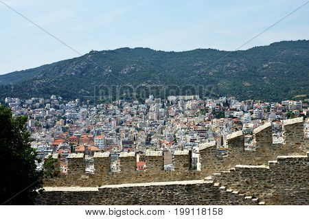 Kavala, city in the northern Greece, in the Macedonia-Thrace region, located on the Aegean Sea. Walls of Byzantine citadel and view of the part of the city.