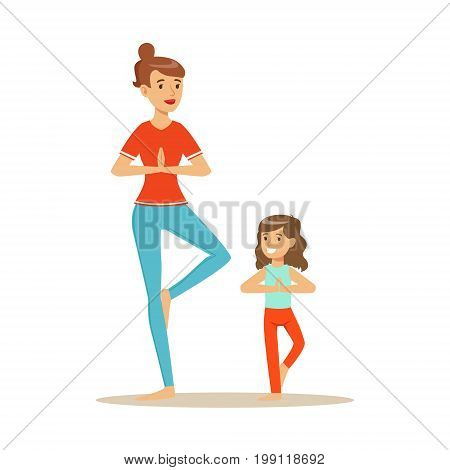 Smiling woman and girl doing yoga in a vrksasana position, mom and daughter having good time together colorful characters vector Illustration on a white background