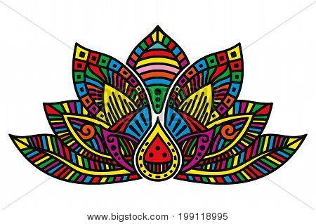 Vector image of egyptian lotus flower on white background.
