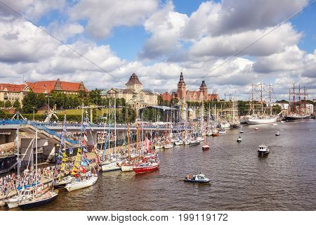 Szczecin, Poland - August 06, 2017: Sailing Vessels Anchored At Chrobry Embankment During Final Of T