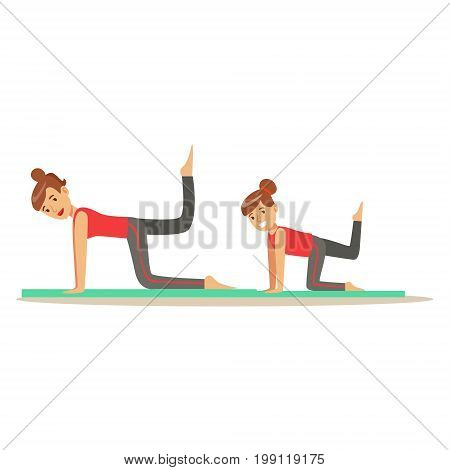 Smiling woman and girl doing fitness exercises on mat, mom and daughter having good time together colorful characters vector Illustration on a white background