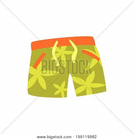 Green shorts for swimming cartoon vector Illustration on a white background