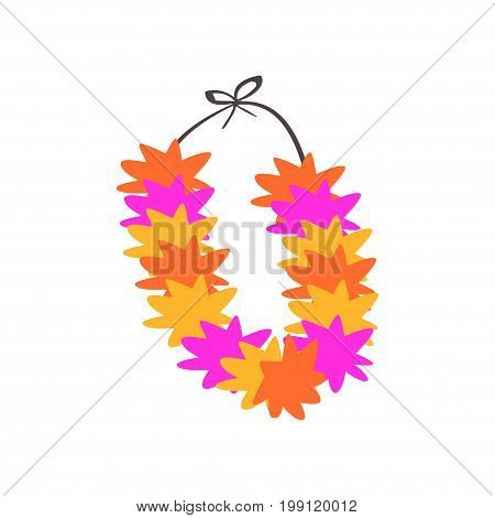 Colorful necklace, lei with bright colorful flowers vector Illustration on a white background