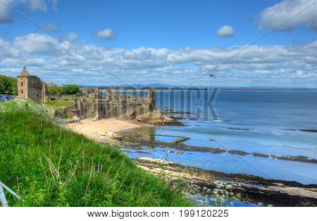 Ruins of St. Andrews Castle in St. Andrews Scotland.