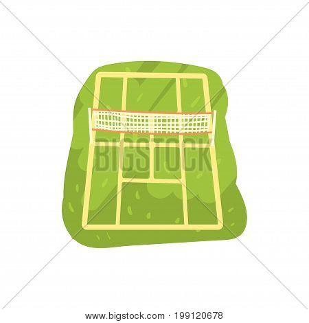 Green tennis court cartoon vector Illustration on a white background