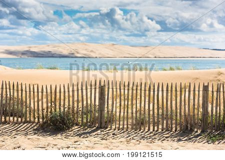 Wooden Fence On Atlantic Beach In France