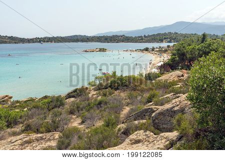 CHALKIDIKI, CENTRAL MACEDONIA, GREECE - AUGUST 26, 2014: Seascape of Lagonisi Beach at Sithonia peninsula, Chalkidiki, Central Macedonia, Greece