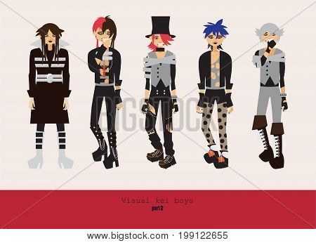 Lovely visual kei men. Different hairstyles emotions accessories posing isolated on background. Creative collection with subculture oshare style gothic subculture.