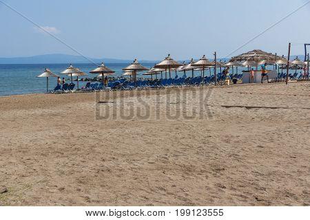 CHALKIDIKI, CENTRAL MACEDONIA, GREECE - AUGUST 26, 2014: Seascape of Stratoni beach at Chalkidiki, Central Macedonia, Greece