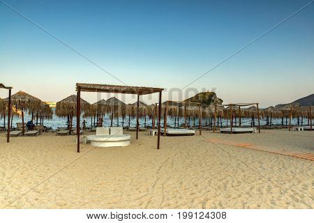 CHALKIDIKI, CENTRAL MACEDONIA, GREECE - AUGUST 25, 2014: Seascape of Kalamitsi Beach at Chalkidiki, Central Macedonia, Greece