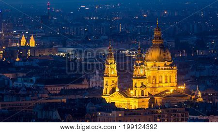St. Stephen's Church in Budapest from elevated view from Gellert Hill at night
