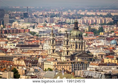 St. Stephen's Basilica in Budapest from side elevated view from Gellert Hill at daytime