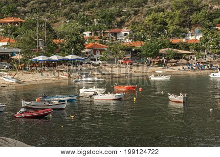 CHALKIDIKI, CENTRAL MACEDONIA, GREECE - AUGUST 26, 2014: Seascape of Pigadaki Beach at Sithonia peninsula, Chalkidiki, Central Macedonia, Greece