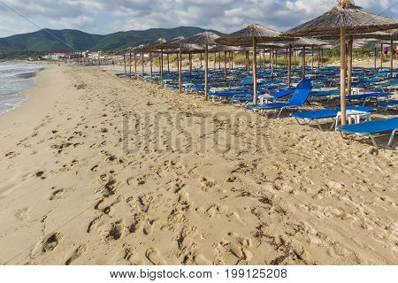 CHALKIDIKI, CENTRAL MACEDONIA, GREECE - AUGUST 26, 2014: Seascape of Sarti Beach at Sithonia peninsula, Chalkidiki, Central Macedonia, Greece