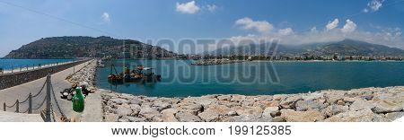 Alanya, Turkey - July 09, 2015: Seaport Of Alanya. Panoramic View.