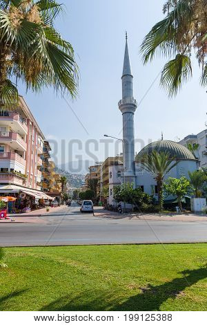 ALANYA TURKEY - JULY 09 2015: The building of the mosque. Alanya - a popular holiday destination for European tourists.