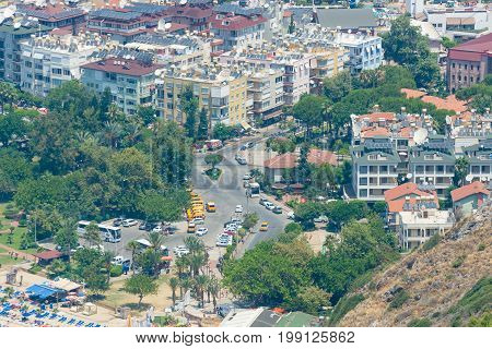 ALANYA TURKEY - JULY 09 2015: Houses in the central districts of Alanya. The view from the bird's eye view. Alanya - a popular holiday destination for European tourists.