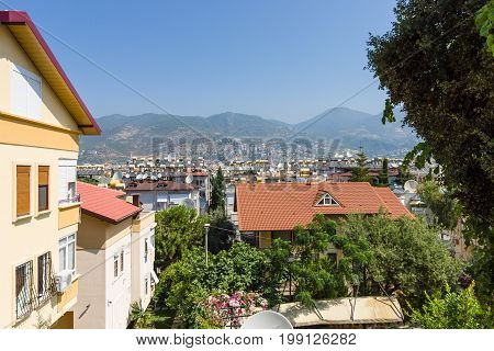 ALANYA TURKEY - JULY 09 2015: Houses in the central districts of Alanya. Alanya - a popular holiday destination for European tourists.
