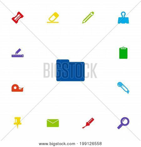 Collection Of Information, Sticky, Supplies And Other Elements.  Set Of 13 Tools Icons Set.